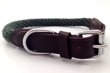 NEW HAND-MADE SOFT LEATHER / ROPE DOG COLLAR TRAINING STRONG COLLIE SMALL/MEDIUM