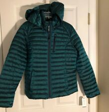 NAUTICA Womens Puffer Coat Packable Hooded Lightweight Jacket TEAL Large NWT$150