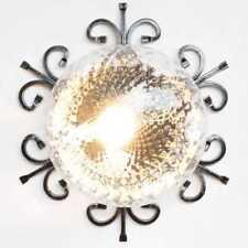 PLAFONIERA IN FERRO BATTUTO VETRO trasparente DA ESTERNO LAMPADINA E27 da parete