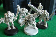 Warhammer 40K Space Marine Scout Sergeant with Chainsword & 3 Scouts Metal OOP
