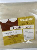 "Vtg NOS Fashion Tone 70"" Round Tablecloth Beige Tan 100% Rayon Permanent Press"