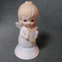 "Vintage 1982 Lefton Small 2 7/8"" Bisque China Angel Holding Harp Figurine"