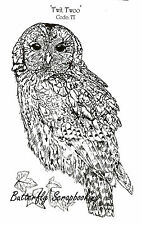 OWL Large Detailed Bird Cling Unmounted Rubber Stamp IndigoBlu Stamp TT1 NEW