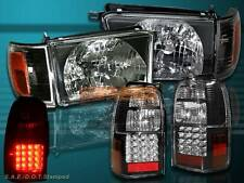 1996 1997 1998 TOYOTA 4RUNNER BLACK HEADLIGHTS + CORNER + LED TAIL LIGHTS BLACK