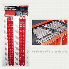 ERNST Mfg 6050 RD No-Slip Low Profile Wrench Rails Organizer Holds 30 Red