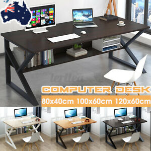 🔥 Computer Desk Study Home Office Table Student White Metal Workstation Storage