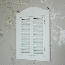Espejo de obturación Montado en Pared de Madera Blanco Shabby Vintage Chic Hogar Dormitorio Regalo
