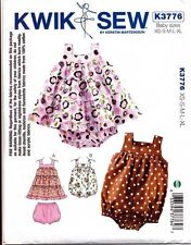 KWIK SEW SEWING PATTERN 3776 BABY/TODDLER XS-XL TIERED DRESS NAPPY COVER ROMPER