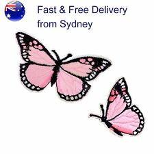 Pink Butterfly Iron on patch 2 pack - insect flyer embroidery transfer patches