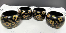 New listing Set Of 4 Black Wooden Hand Painted Gold Tone Flowers (E15)
