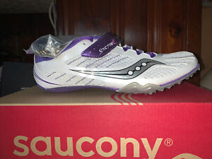 Saucony Spitfire 2 Women Track Spikes Shoes White / Purple Size 8.5 M New