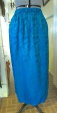 ENDLESS KNOT SILK PEACOCK TEAL BACK VENT SKIRT NWOT O/S