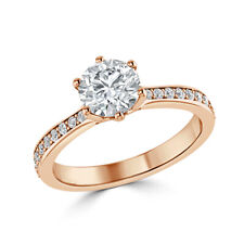 14K Rose Gold 1.30 Ct Diamond Wedding Party Bridal Ring Round Cut Size 4 5