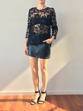TOPSHOP Top Shop Ladies Black Lace Long Sleeve Top Blouse Size 10.