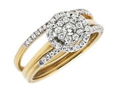 10K Yellow Gold Stackable Flower Halo Diamond Engagement Wedding Ring Set 0.50ct