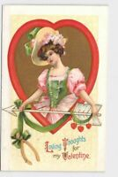 ANTIQUE VINTAGE VALENTINE POSTCARD WOMAN GIRL WISHBONE ARROW LOVING THOUGHTS NO