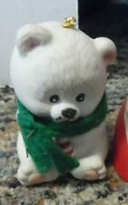 Vintage Jasco porcelain white bear with green scarf bell-3""