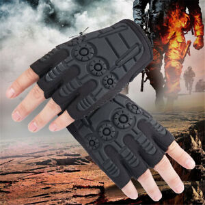 Tactical Half Finger Gloves Army Military Combat Assault Airsoft Work Fingerless