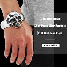 316L Stainless Steel Huge Heavy Skull Mens Biker Bracelet Bangle Cuff 5J022A