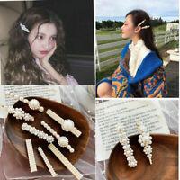 Korean Style Pearl Metal Hairband Hair Clip Fashion Women Snap Barrette Stick