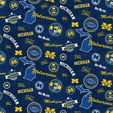 University of Michigan Wolverines Cotton Fabric w Home State Design-By the Yard
