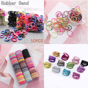 Women Black Colorful Elastic Hair Band Ring Headwear Rubber Band Ponytail Holder