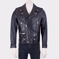SAINT LAURENT PARIS 5250$ Black Vintage Calf Leather L01 Classic Biker Jacket