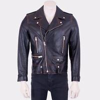 SAINT LAURENT PARIS 5250$ Black Vintage Calf Leather L01 Classic Biker Jacket