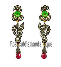 Silver 925% Ruby Onyx Dangle Earrings Hand-Made Antique Rose Cut Diamond 2.18ct