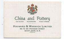 1900 Trade Booklet Hayward & Warwick Ltd St John Canada China & Pottery
