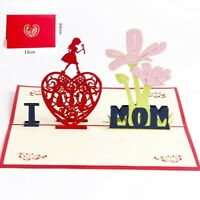 3D Pop Up Card Mother's day I Love Mom Gift Girl Flower Heart Greeting Cards