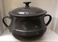 Le Creuset Large Stoneware 3.8L Bean Pot / Casserole Dish with Lid -GREY ( NEW)