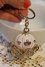 GIFT Key Chain Ring Charm Crystal Purse Pendant WHITE PUMPKIN COACH CARRIAGE