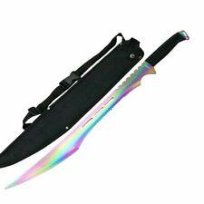 "28"" RAINBOW Blade NINJA SWORD Throwing Knife Katana Full Tang HERO Machete"