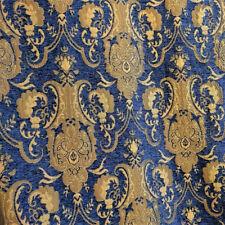 ARABESQUE BAROQUE UPHOLSTERY CHENILLE FABRIC LAPIS BLUE GOLD JACQUARD DAMASK BTY