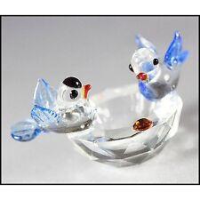 CUTE MINI BABY BLUE BIRDS ON NEST,BATH,Crystal Figurine with FREE CD, Xmas Gift