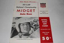 Midget Car Auto Racing Program, National Championship Orange Stadium, March 1961