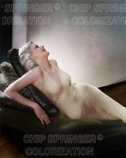JEAN HARLOW ON A DARK GREEN CHAISE BEAUTIFUL COLOR PHOTO BY CHIP SPRINGER