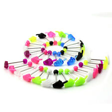 Hot 30 X Colorful Hand Tongue Nipple Bars Rings Barbells Body Jewelry Piercing
