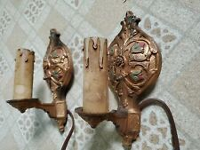 Early Pair Cast Iron Antique Vintage Wall Lamps Lights Sconces Art Deco Working