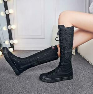 Women Canvas Lace Knee High Boots Lace Up Hidden Heel Sneakers Casual Shoes Plus