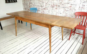 Extending Mid-Century Hardwood Dining Table with Drawer 5-8 ft- Free Delivery