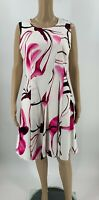 DKNY Womens Dress Size 8 White Floral Fit & Flare Sheath Cotton Sleeveless B6