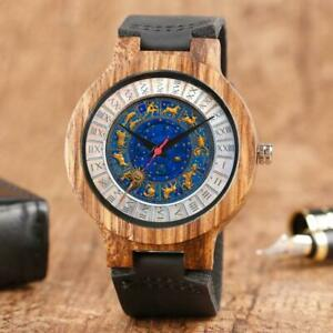 Zodiac All Horoscope Stars Natural Wood Gift Watch Leather Strap Free Engrave