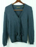 PERU UNLIMITED men's SMALL Cardigan Sweater BABY ALPACA WOOL Blue w/ Pockets