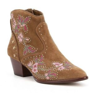 New! Gianni Bini RAMSIE Floral Taupe Suede Embroidered Ankle Boots-8.5