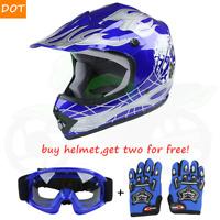 TCMT DOT Youth Blue Skull Dirt Bike ATV Motocross Helmet Goggles+Gloves S/M/L/XL