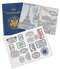 Kids Fake Passport Set Stickers Book School Learning Girl Boy Toy Pretend NEW