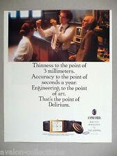 Concord Delirium Watch PRINT AD - 1989 ~~ wristwatch, watches