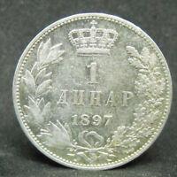 SERBIA 1 DINAR 1897  SILVER COIN   #1083